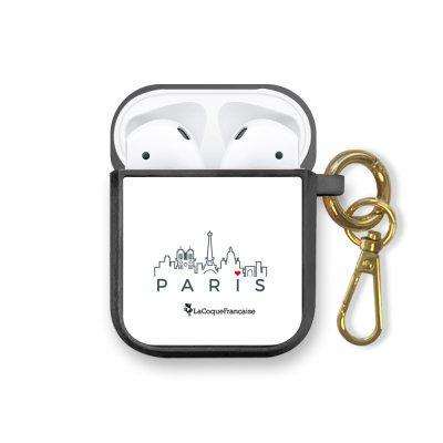 Housse pour airpods silicone liquide noir Skyline Paris Motif Ecriture Tendance La Coque Francaise