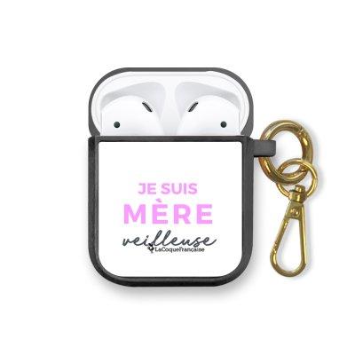 Housse pour airpods silicone liquide noir Mère Veilleuse Motif Ecriture Tendance La Coque Francaise