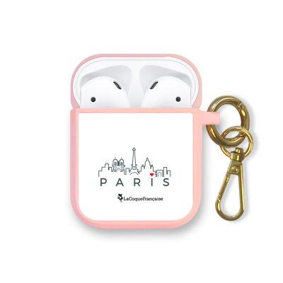 Housse pour Airpods silicone liquide rose Skyline Paris Motif Ecriture Tendance La Coque Francaise