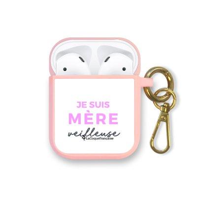 Housse pour Airpods silicone liquide rose Mère Veilleuse Motif Ecriture Tendance La Coque Francaise