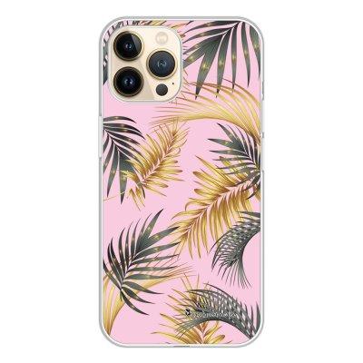 Coque iPhone 13 Pro 360 intégrale transparente Feuilles de palmier rose Tendance La Coque Francaise.