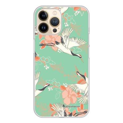 Coque iPhone 13 Pro 360 intégrale transparente Grues fleuries Tendance La Coque Francaise.