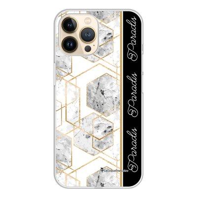 Coque iPhone 13 Pro 360 intégrale transparente Marbre Noir Paradis Tendance La Coque Francaise.