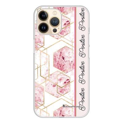 Coque iPhone 13 Pro 360 intégrale transparente Marbre Rose Positive Tendance La Coque Francaise.