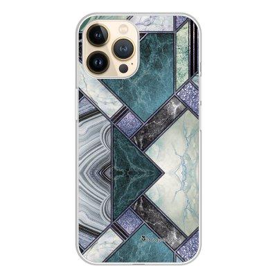 Coque iPhone 13 Pro 360 intégrale transparente Marbre Bleu Vert Tendance La Coque Francaise.