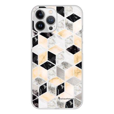Coque iPhone 13 Pro Max 360 intégrale transparente Carrés marbre Tendance La Coque Francaise.