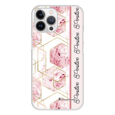 Coque iPhone 13 Pro Max 360 intégrale transparente Marbre Rose Positive Tendance La Coque Francaise.