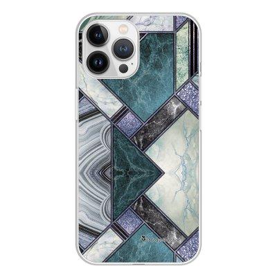 Coque iPhone 13 Pro Max 360 intégrale transparente Marbre Bleu Vert Tendance La Coque Francaise.