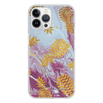 Coque iPhone 13 Pro Max 360 intégrale transparente Marbre Ananas Or Tendance La Coque Francaise.