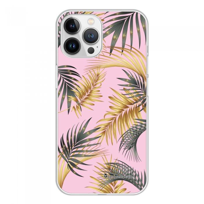 Coque iPhone 13 Pro Max 360 intégrale transparente Feuilles de palmier rose Tendance La Coque Francaise.