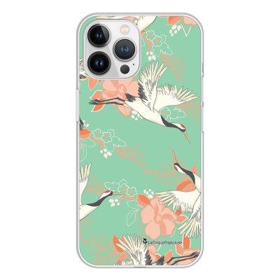 Coque iPhone 13 Pro Max 360 intégrale transparente Grues fleuries Tendance La Coque Francaise.