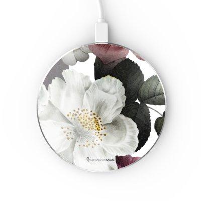 Chargeur Induction contour argent blanc Fleurs roses La Coque Francaise