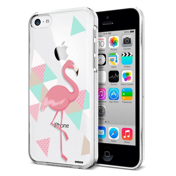 coque souple transparent flamant rose graphique iphone 5c