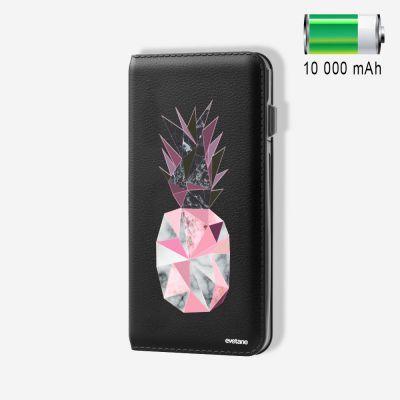 Batterie externe 10 000 mAh Ananas Géométrique Marbre compatible Lightning & Micro USB - Noir