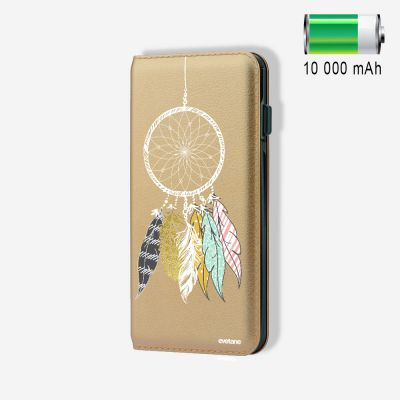 Batterie externe 10 000 mAh Attrape Rêves Scandinave compatible Lightning & Micro USB - Or