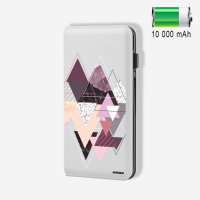 Batterie externe 10 000 mAh Triangles Design compatible Lightning & Micro USB - Blanc