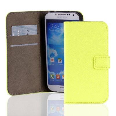 Etui porte-feuille croco jaune fluo en similicuir pour Samsung Galaxy S4 I9500