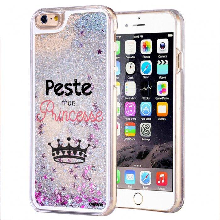 Coque paillettes iPhone 6/6S paillettes liquides argent Peste mais Princesse Ecriture Tendance et Design Evetane - Coquediscount