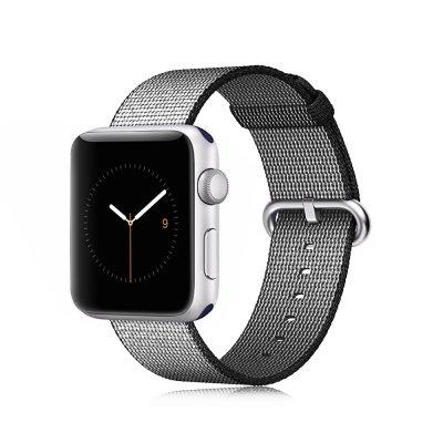 Bracelet en tissu noir réglable pour Apple Watch 38 mm