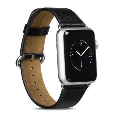 Bracelet aspect cuir noir réglable pour Apple Watch 38 mm + Visse d'installation
