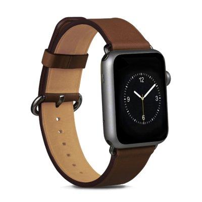 Bracelet aspect cuir marron réglable pour Apple Watch 38 mm + Visse d'installation