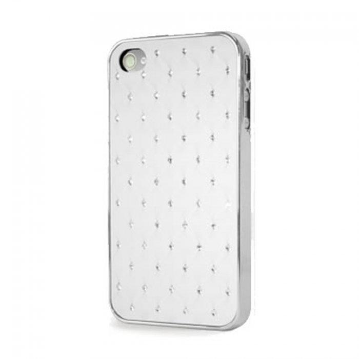 coque iphone 4 4s blanche strass contour argent