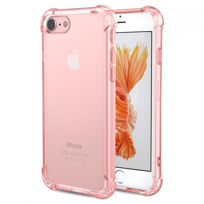 coque anti chocs silicone rose gold transparente avec bords renforces pour iphone 7 8