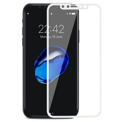 Vitre protectrice avant integrale incurvée en verre trempé pour iPhone X - Contour Blanc