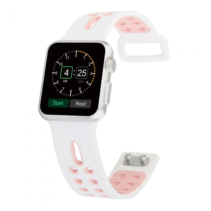Bracelet perforé en silicone pour Apple Watch 38mm - Blanc et rose