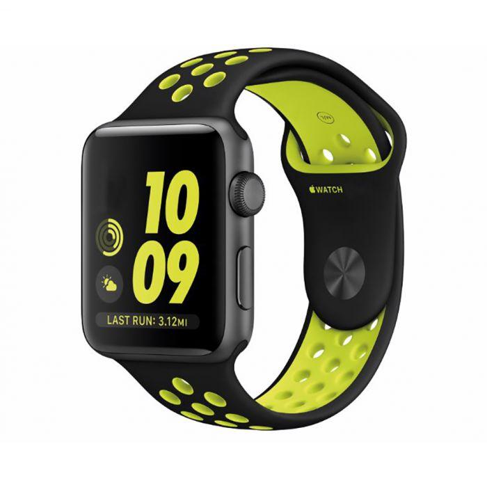 Bracelet perforé en silicone pour Apple Watch 42mm - Noir et vert