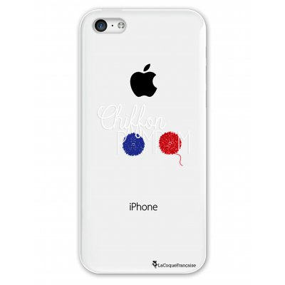 Coque rigide transparent Chiffon pompom iPhone 5C