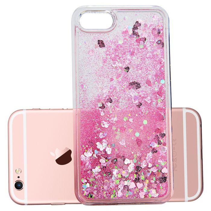 Coque transparente paillettes liquides rose pour iPhone 6/6S
