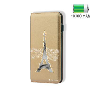 Batterie externe 10 000 mAh aspect cuir Illumination de Paris - Or