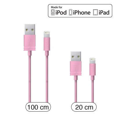 Unplug cable lightning mfi rose 1m et 0.2m