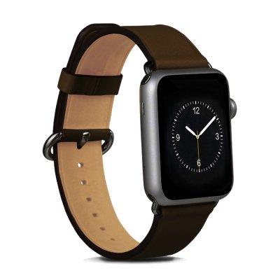 Bracelet aspect cuir marron réglable pour Apple Watch 42 mm + Visse d'installation