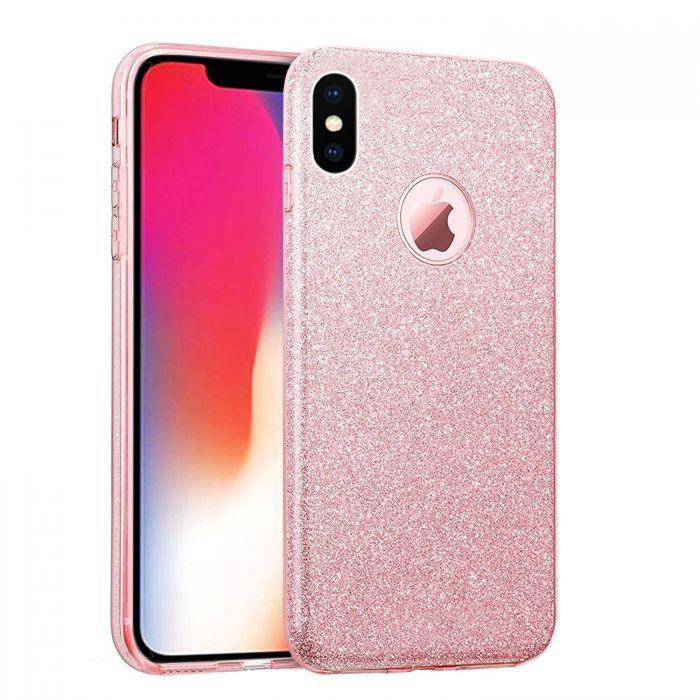 coque en silicone souple pailletee pour iphone x rose or