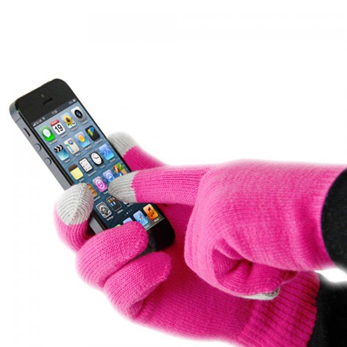 Gants en laine pour écrans tactiles roses et gris