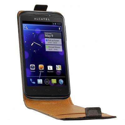 SWISS CHARGER Etui cuir noir véritable pour Alcatel OT-993