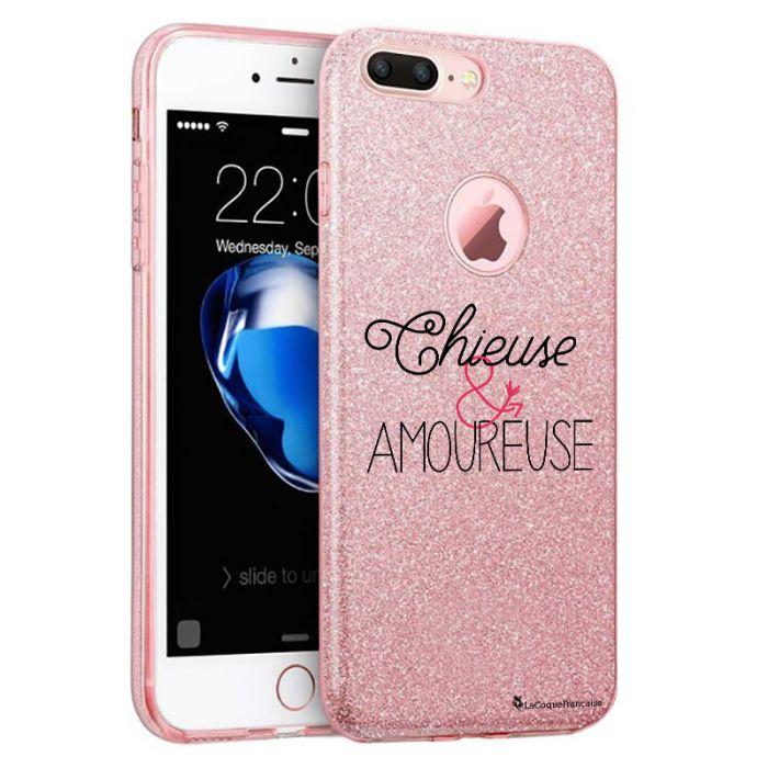 coque en silicone souple pailletee chieuse et amoureuse pour iphone 7 plus 8 plus rose