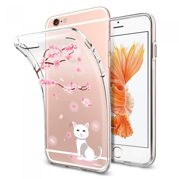 coque souple transparent chat et fleurs iphone 6 plus 6s plus