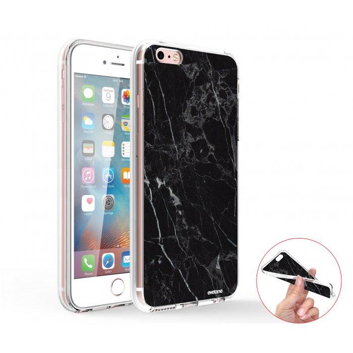 coque integrale 360 souple transparent marbre noir iphone 6 plus 6s plus