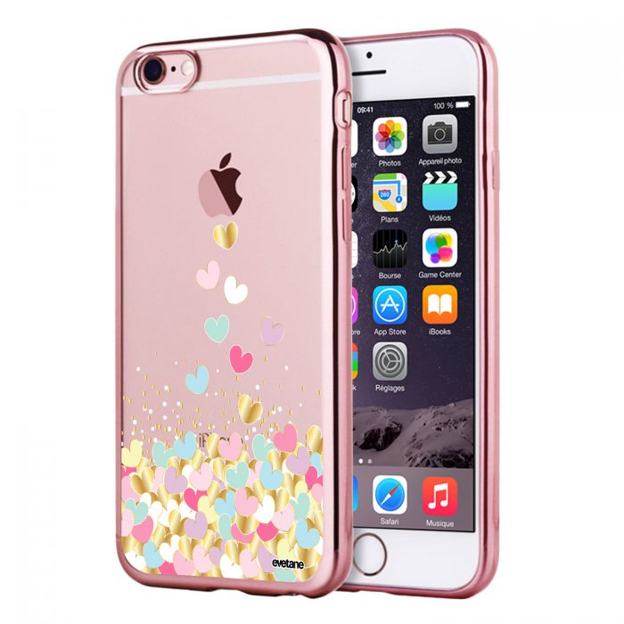 coque bumper rose coeurs pastels iphone 6 6s