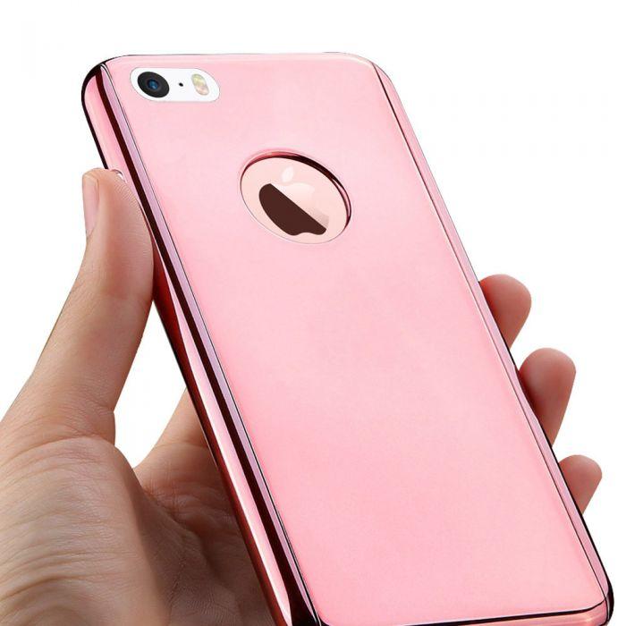 Coque intégrale 360 avec film anti-casse effet métallique rose gold pour iPhone 5/5S/SE