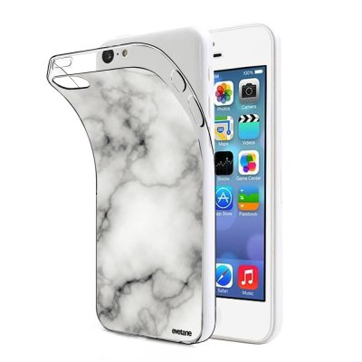 Coque souple transparent Marbre blanc iPhone 5C