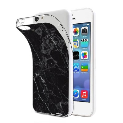 Coque souple transparent Marbre noir iPhone 5C