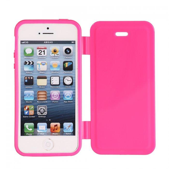 etui livre silicone rose fluo pour iphone 5 5s