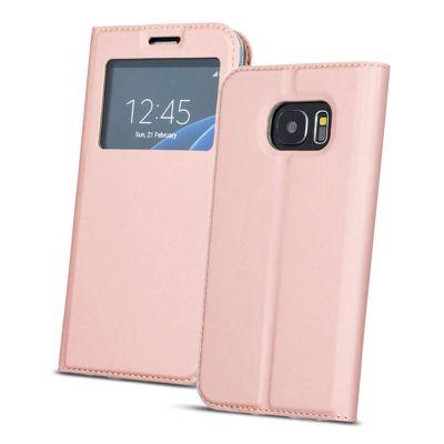 Etui de protection intégrale rose avec fenêtre pour Samsung S9