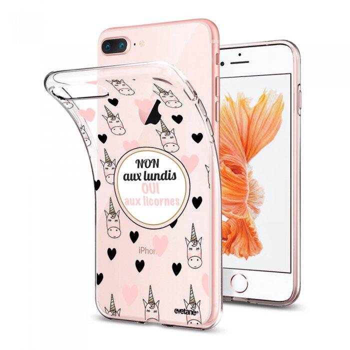 coque souple transparente oui aux licornes iphone 7 plus 8 plus