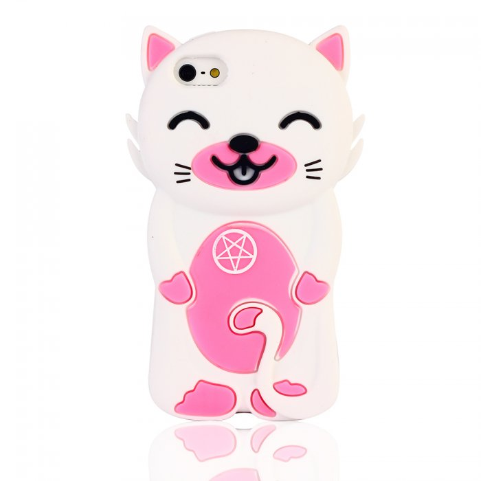 coque silicone blanche et rose chat manga pour iphone 5c