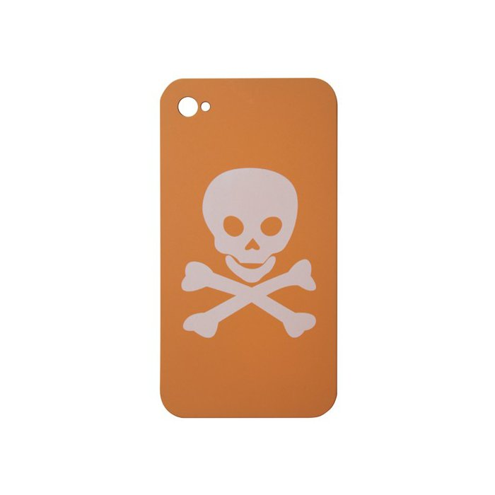 Coque Pirate orange tete de mort blanche iPhone 4/4S